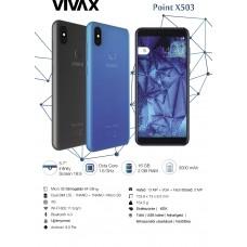 Vivax Point X503 kártyafüggetlen mobiltelefon, fekete hátlap, Dual SIM,Dual kamera, LTE 16GB